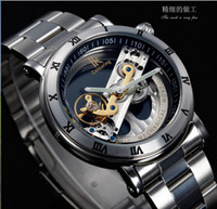 Wholesale Stainless Steel Ik - Wholesale-2015 New Design Watches steel Brand Ik Colouring Hollow Automatic Mechanical Watch Men Skeleton Swimming Watches 50M Waterproof