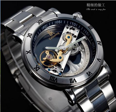 Wholesale-2015 New Design Watches steel Brand Ik Colouring Hollow Automatic Mechanical Watch Men Skeleton Swimming Watches 50M Waterproof