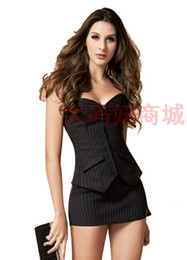 Wholesale Lingerie Short Wear Dress - Wholesale-Cheap Sexy lingerie for woman strapless low-cut dress OL uniforms sexy costumes club wear clothing S M L XL XXL 3XL 4XL 5XL 6XL