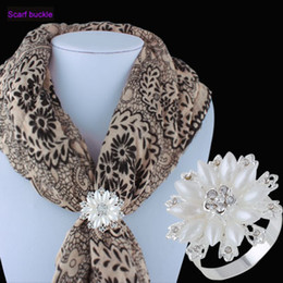 Wholesale Silk For Scarfs China - New Crystal Rose sliver Plated Scarf Buckle Clip For Women Silk Scarf decorations pearl flower Jewlery ornaments Accessories