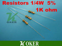 resistencia 1k al por mayor-Venta al por mayor-Libre 1000 PC Resistencias 1 / 4W 1k ohm 5% Carbon Film Ideal