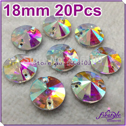 Wholesale 8mm Buttons - Wholesale-8mm,10mm,12mm,14mm,16mm,18mm Rivoli Round Sew On Crystal AB Glass Crystal Stone Buttons