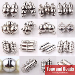 Wholesale Strong Magnetic Clasp Silver Plated - Wholesale-(10Sets=1Lot ! ) Free Shipping Dull Silver Silver Plated Tube Barrel Round Strong Magnetic Buckle Clasps Jewelry Finding CP1