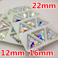 Wholesale Clear Crystal 12mm Beads - Wholesale-12mm,16mm,22mm Crystal Clear AB Color 3270 triangle sew on stone Flatback With 3holes sewing crystal Use For garment