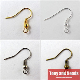 Wholesale Nickel Free Ear Wire Wholesale - Wholesale-(200Pcs=1Lot!)Free Shipping Jewelry Earring Finding 18X21mm Hooks Coil Ear Wire Gold Silver Bronze Nickel For Jewelry Making EF8