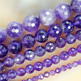 """Wholesale Natural Faceted Amethyst - Wholesale-4 6 8 10 12mm Natural Faceted Amethyst Round Beads 15.5"""" Pick Size Free Shipping"""