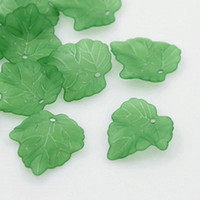 Wholesale 24mm Acrylic Beads Wholesale - Wholesale-Free Shipping 200pcs Frosted Transparent Acrylic Grape Leaf Pendants,Green,about 24mm long,For earrings,necklaces,mobile straps