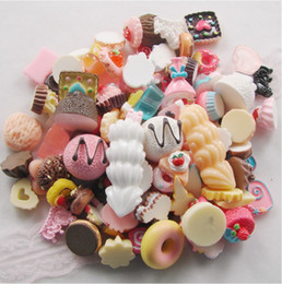 Wholesale Dessert Cabochons - Wholesale-100pcs lot 15-25 mm Mix Styles Colors Flat back Resin Dessert Cabochons Jewelry findings   Mobile phone DIY Accessory