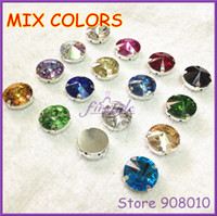 Wholesale Stone Metal Claw - Wholesale-MIX COLORS Sew On Rivoli Crystal Fancy Stones In Silver Metal Claw Setting 8mm,10mm,12mm,14mm,16mm,18mm