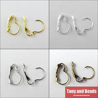 Wholesale Earrings French Hook Gold - Wholesale-(100Pcs=1Lot!)Free Shipping JewelryEarring Finding 13X19mm French Earring Hooks Gold Silver Bronze Nickel For Jewelry Making EF9