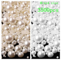 Wholesale Bead Cap Jewelry - Wholesale-3500pcs bag 3-8mm Pearl Cabochon Flat Back semicircle ABS Beads Jewelry Findings DIY Phone Case Free Ship B62