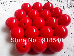 Wholesale Large Chunky Acrylic Beads - Wholesale-Red Large Big Size 22MM 82pcs Big Chunky Gumball Bubblegum Acrylic Solid Beads ,Colorful Chunky Beads for Necklace Jewelry