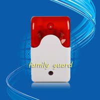 Wholesale Mini Siren Alarm - Wholesale-Free Shipping!12V Mini Indoor Wired Siren with Red light Siren Flash Sound Home Security Alarm Strobe System 110dB Hot Sale