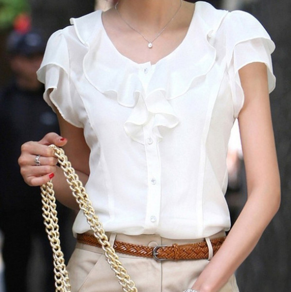 Wholesale-2015 Spring Summer New Women Clothing Girl Casual Bow tie Short Sleeve Chiffon Blouse & Shirt Office Lady Ruffles Formal Tops
