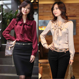 Conception De Mode Formelle Dame Blouse Pas Cher-New Office Lady Chemisier en mousseline Taille S-3XL Bonne qualité Charm femmes robe Varabow design Tenue de soirée-Fashion gros 2015 Shirt