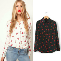 Wholesale Blouse Lips - Wholesale-XS-XXL,2015 New Women Hot Sale Brand Design High Street Elegant Lip Print Chiffon Blouse Shirt,black;white,Y6045