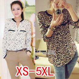 Wholesale Silk Chiffon Women Blouses - Wholesale-fashion women 2015 women blouse silk floss leopard print shirt women top loose Blouses plus size chiffon shirt XS-5XL