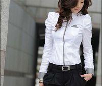 Wholesale White Shrug Xl - Wholesale-Hot Sell White Women Shirt Sexy Ol Women Fashion Turn-Down Collar Shrug Bubble Long Sleeve Slim Cotton Shirt Blouse Top J3729