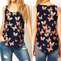 Wholesale Butterfly Tank - Wholesale-S M L XL XXL XXXL Sanwony 2015 New Womens Butterfly Print Sleeveless Chiffon Tank Top Shirts Crew Vest Freeshipping&Wholesale