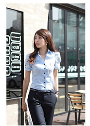 Wholesale Short Frocks - Wholesale-women v-neck fashion short-sleeved frock shirt office lady cotton blouse free shipping white&blue&pink