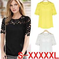 Wholesale Slim Lace Shirt Blouse - Wholesale-Brand Women's Ladies Lace Patchwork Slim Yellow White Black S-5XL Top Blazer Blouse Shirts Women blouse D042