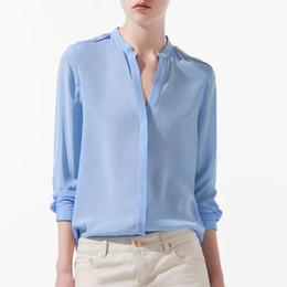 Wholesale Stud Chiffon Shirt - Wholesale-New 2015 Hot Sell Womens Chiffon Blouse Long Sleeve V-Neck Studs Slim Pure Color Chiffon Shirt Women Blouse Tops Wf-3146