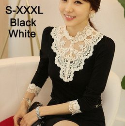 Blusa de algodón coreano online-Wholesale-Plus Size XXXL Invierno Autunm coreano elegantes camisas de encaje delgado de manga larga rebordear collar de soporte de algodón blusa de encaje de las mujeres blusas
