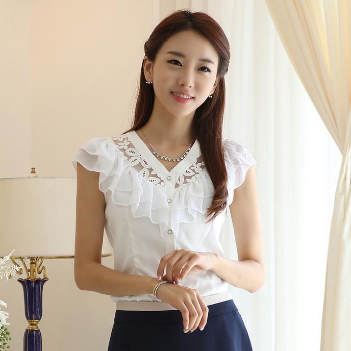 2017 Wholesale New Ladies Summer Black/ White Formal Blouses For ...