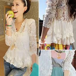 Wholesale Padded Puffed Shoulders - Wholesale-Skinny Shoulder Pad Precious Mosaic Lace Shirt Cardigan Sunscreen Shirt 5123