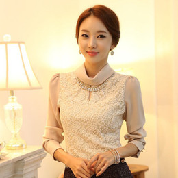 Wholesale Korean Office Blouses - Wholesale-NEW Ladies Long Sleeve Office Shirts 2015 Spring Korean Style Women's Fashion Elegant Turtleneck Lace Formal Blouses S-XXL