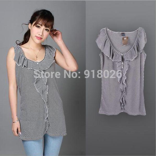 Wholesale-U.S. exports Summer New fashion woman flounced Blouse sleeveless black and white striped cotton shirt plus size