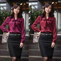 Wholesale Chiffon Blouses Designs - Wholesale-Bowtie Design OL Shirt 2015 NEW Fashion Women Slim Career Tops Size S-3XL Office Lady Chiffon Soft Blouses