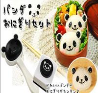 Wholesale Panda Sushi Maker - Wholesale-kawaii DIY 3D panda sushi mold rice ball maker japan sushi mould sushi tool rice ball maker seaweed cutter bento 1set=2pcs