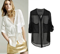 Wholesale Chiffon Collarless Tops - Wholesale-Women Collarless Button See-through Long Sleeve Chiffon Shirts Blouse Tops lady fashion plus loose pocket transparent blouse top