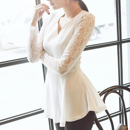 Wholesale Sexy Black Long Sleeved Shirt - Wholesale-Women's Korea Style Flared Peplum Sexy Long Sleeved Chiffon Shirts HOT Style Lace Sleeve Blouse