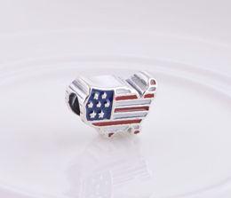 Usa flaggenperlen online-Emaille S925 Sterling Silber USA Flagge Karte mit Gewinde Charms Perlen passt europäischen Pandora Style Armband DIY LW351