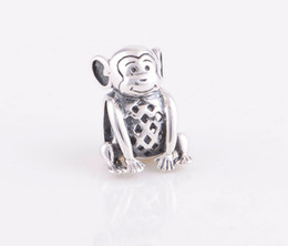 Wholesale Sterling Silver Screw Beads - New Lovely Monkey Christmas gift 925 Sterling Silver Screw Thread Charms Bead Suitable for Pandora Jewelry Sets