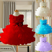 Wholesale Layered Lace Flower Girl Dress - 2015 New Girls Toddler 3D Flower Tutu Layered Princess Dress Kids Formal Dress,girl princess dress girl flower dress Bow Free ShippingLF058