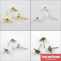 Wholesale Diy Ball Earrings - Wholesale-(200Pcs=1Lot!)Free Shipping Half Ball Stud Earring Posts Ear Wire Jewelry 6x13mm Gold Silver Bronze For Jewelry Making Craft DIY
