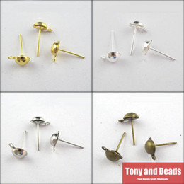 Wholesale Earring Stud Post Silver - Wholesale-(200Pcs=1Lot!)Free Shipping Half Ball Stud Earring Posts Ear Wire Jewelry 6x13mm Gold Silver Bronze For Jewelry Making Craft DIY