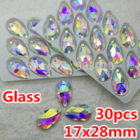 Оптовый-30pcs 17x28mm Teardrop Sew-on Stone Crystal Clear AB Color Flatback 2 отверстия 28x17 Капля воды Шитье Crystal Crystal Rhinestones