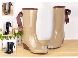 Wholesale Platform Rubber Rain Shoes - Wholesale-New 2015 Lady's Women Rain Boots Bowknot Platform Women's Rubber Boots Waterproof Botas Sapatos Shoes Rainboots Galocha