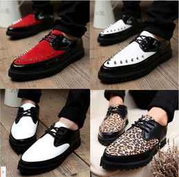 Wholesale Pointed Toe Leopard Flats - Wholesale-New 2015 fashion rivet pointed toe spiked leopard flat shoes men creepers sapatos masculinos
