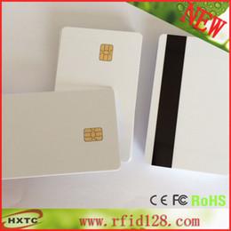 Venta al por mayor de Venta al por mayor (50PCS / Lot) Sle4442 2 en 1 tarjeta inteligente del chip de memoria en blanco del contacto con la raya magnética del Hola-Co imprimible por la impresora de Zaber