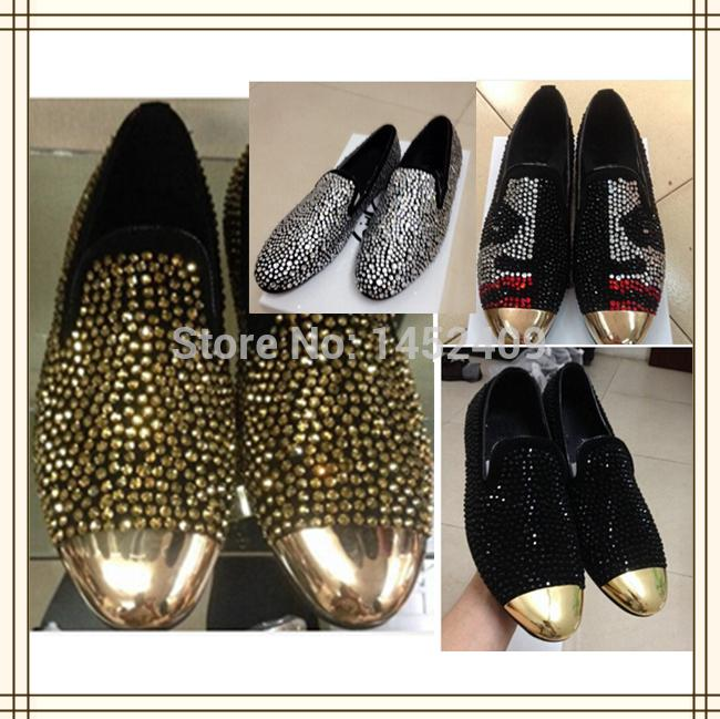 Wholesale-2015 Fashion men gold rhinestone sneakers gold metal toe crystal loafers man's shoes wedding party shoes