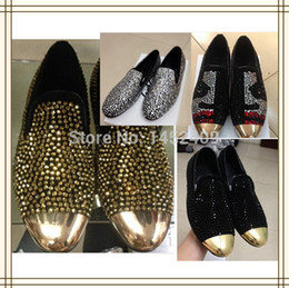$enCountryForm.capitalKeyWord Canada - Wholesale-2015 Fashion men gold rhinestone sneakers gold metal toe crystal loafers man's shoes wedding party shoes
