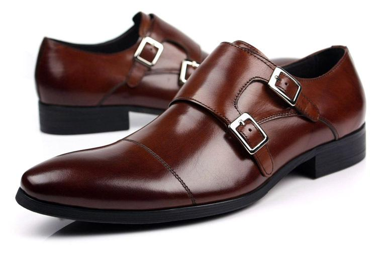 a9e429f8e21 Wholesale New Men S Real Leather Dress Shoes Double Monk Strap Buckle Formal  Wedding Party Gift Brown Size 6~12 Footwear Sport Shoes From Yabsera
