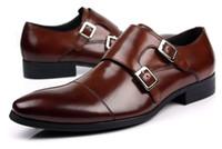 zapatos formales marrones nuevos al por mayor-Al por mayor-Nuevos hombres de cuero real zapatos de vestir Double Monk Strap Buckle formal del banquete de boda de regalo tamaño marrón 6 ~ 12
