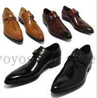 Wholesale Coffee Color Shoe Man - Wholesale-2015 oxford shoes Deep coffee color  Dark yellow  black mens business dress shoes genuine leather pointed toe mens wedding shoes