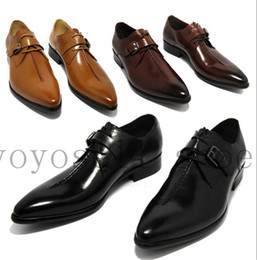 Wholesale Coffee Color Dresses - Wholesale-2015 oxford shoes Deep coffee color  Dark yellow  black mens business dress shoes genuine leather pointed toe mens wedding shoes